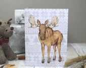 Moose Christmas card with fair isle jumper pattern - moose art - animal greetings card