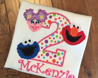 Girls Personalized Appliqued Sesame Street Birthday