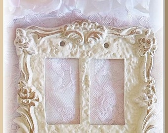 Victorian Rose Double Rocker Wall Plate / Switch Plate /Switchplate, Paint Color and Finish Choices / Romantic Home Decor Light Switch Cover