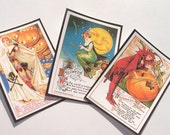 Edwardian Witch Tags - Set of 9 ,Vintage Halloween,Costumed Women,Holiday Tags,Halloween Cards,Thank Yous - All Hallows Eve,Ready to Ship