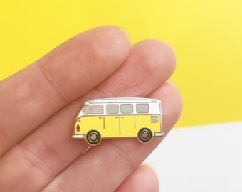 Sunshine Van pin - hard enamel pin badge - perfect gift for campervan lovers - yellow vw campervan
