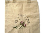 Personalized hand embroidered tote bag for children embroidery jacobean flowers