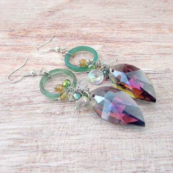 Bohemian Sparkle Earrings - Long Crystal Dangle Earrings - Crystal Earrings - Crystal Leaf Earrings - Bohemian Crystal Earrings - Crystals