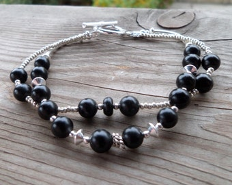 Natural Jet Beads with Fine Silver Beads Double Strand Gemstone Bracelet