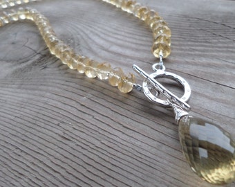 Reserved for Diane Faceted Citrine with Fine Silver Toggle Lariat Necklace