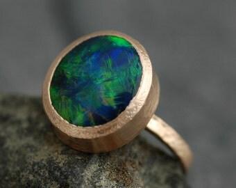 Huge Black Opal in Recycled 18k Gold- Made to Order, Deposit