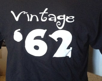 Clearance Sale Vintage '62 Shirt, 54th Birthday Gift Idea, Size Adult Medium Black Only, Birthday Parties Sale