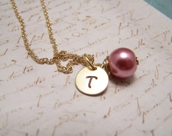 Pink Pearl and Initial Necklace... Bride... Bridesmaid... Minimalist... custom personalized
