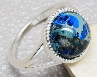 Sterling Silver and Blue Copper Turquoise Ring Size 7