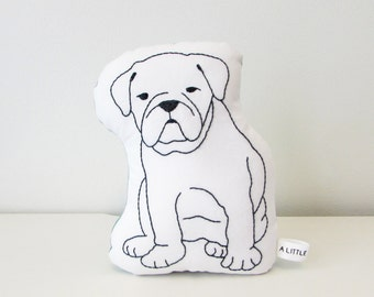 english bulldog shaped pillow, dog pillow, dog cushion, plush dog, kids pillow