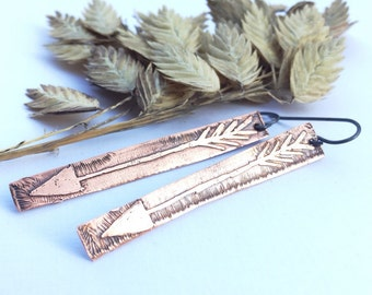 Copper Etched Arrow Earrings