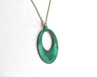 Open Oval Verdigris Necklace