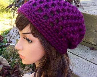 Magenta Mood Super Bulky Warm Crochet Slouchy Hat