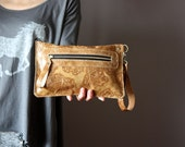 Brown Leather clutch, distressed leather clutch purse, unique  leaf embossed leather  bag, phone wristlet