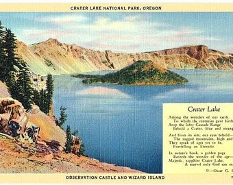 Vintage Oregon Postcard - Observation Castle and Wizard Island at Crater Lake (Unused)