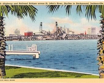 Vintage Florida Postcard - Bridges across St. John's River and Skyline, Jacksonville (Unused)