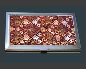 Business Card Case - featuring a Rose & Lily fabric - Arts and Crafts Movement