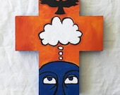 ORIGINAL CROSS, Decorative Cross, Hostess Gift, Christmas, Cross, Hand-Painted Cross, Proverbs, Think, Thoughts Create