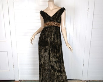 60s Jumpsuit in Brown Velvet- 1960s Wide Leg Pants- Gold Sequin Trim- Boho / Hippie / Festival