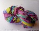Craft Sari Silk Ribbon, Valentine Yarn, Variegated Sari Ribbon Yarn, Recycled Sari Silk Yarn, Colorful Art Yarn, Multicolored Ribbon Yarn