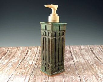 Pottery Hand Soap Dispenser - Ceramic  Soap Pump - Arts and Crafts Mission Prairie Style - Beige Pump - 851