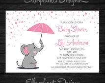 Elephant Baby Shower Invitation, girl, pink, umbrella, rain, white, baby sprinkle, baby elephant, custom invite, digital file, you print