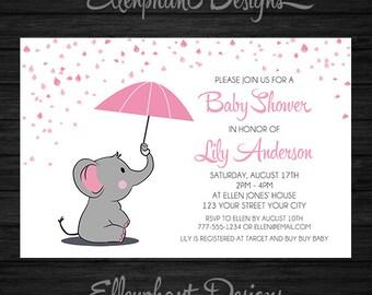 Elephant Baby Shower Invitation, girl, pink, umbrella, rain, white, baby sprinkle, baby elephant, custom invite, digital file, you print