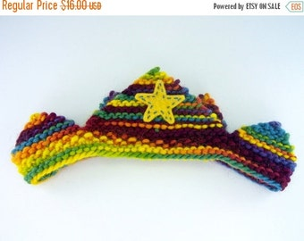ON SALE Waldorf Crown, Birthday Crown, Knitted Crown, Rainbow, Plant Dyed Wool Yarn, Plant Dyed Wool Felt, Apliqued Yellow Star