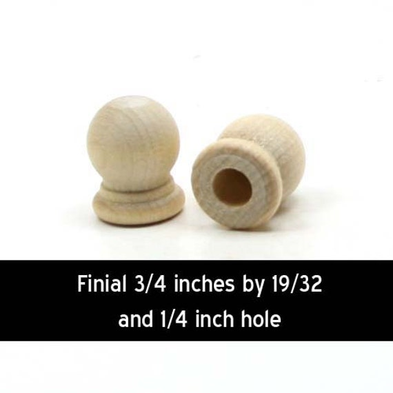 Unfinished wood finial dowel cap end  inch with