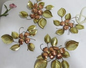 Copper Flower Wall Decor 4 Dainty Branches