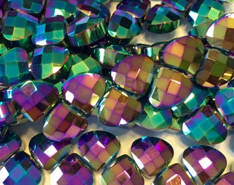 Rainbow Faceted Crystal briolettes 12 flat heart top drilled checker faceted