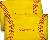 Stitched Softball Design Pillow Covers- Red Stitches Graphics on Yellow Background, Personalized - Standard or King Size