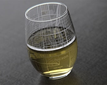Tucson - University of Arizona - College Town Map Stemless Wine Glass