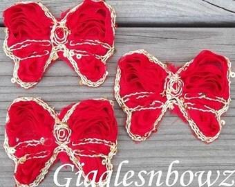 3 Chiffon Butterfly Bow Appliques- Gold Sequin Trim Appliques-  Red Fabric Butterflies- Chiffon Butterfly- Diy Supplies Hair Flower