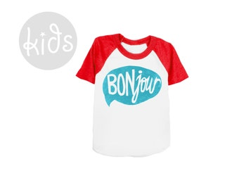 BONjour Raglan Tee - Short Sleeve Crew Neck Baseball Tshirt in Navy Blue and Red - Baby Kids & Youth Sizes