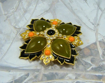 Vintage Rivers Brooch Joan Rivers Signed Beautiful Olive Green Black Creamy Orange Yummy Brooch