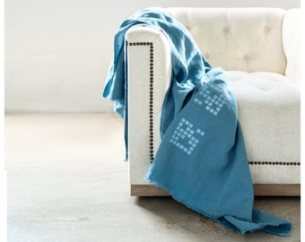 Indigo Blanket- Linen Blanket - Perfect blanket for picnics, beach, kids, bed and sofa - Free Shipping to USA.