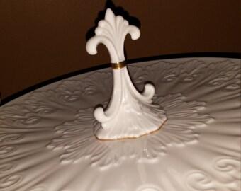 """Vintage LENOX """"Fleur de Lis"""" 24k Gold Gilt Trim Ivory Porcelain Center Handle Large Dessert Cookie Serving Tray Platter Plate Made in USA"""