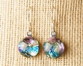 Handmade Dichroic Fused Glass Earrings Sterling Silver .925  ...color changing...