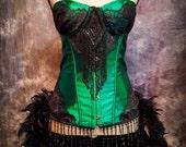 GREEN FAIRY Costume Steampunk Dress Moulin Black Victorian Burlesque Corset Rouge Saloon Girl