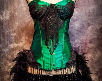 GREEN FAIRY Costume Steampunk Dress Moulin Black Victorian Burlesque Corset Rouge Saloon Girl