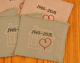 Custom Embroidered Coasters House and Heart Upcycled Fabric Set of 4 Waterproof