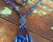 Vintage Blue Lapis Lazuli Beaded necklace Long Dangle Carved Beads Boho Tribal