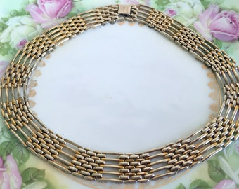 Vintage Woven Interlocking Metal Collar necklace Gold and silver tone