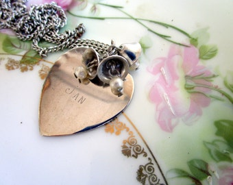 Vintage Heart Name Pendant JAN  Etched with pearls and Bells