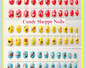 Kawaii Fake Nails, Candy Fake Nails, Kawaii Nail Art, Kawaii Style, Japanese Nail Art, Candy Nails, Dessert Fake Nail, Cute, Girly, Japanese