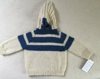 Baby Sweater Hand Knit Hooded Back Zip Hoodie Size 6 Months Wool Natural Denim Free US Shipping