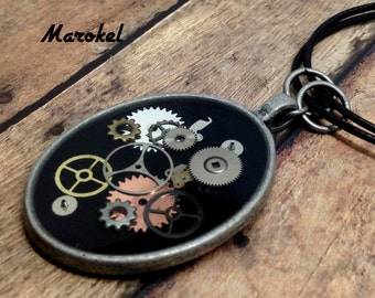 Watch Parts Necklace Steampunk Gears Silver Black Vintage Style Black