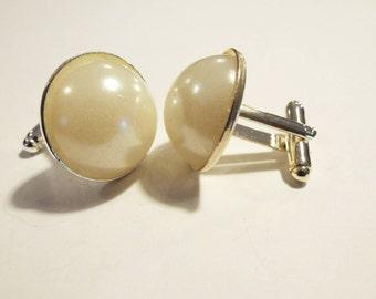 Handmade 20mm Royal Pearl White Cufflinks