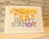 "Happy Birthday Sun Watercolor Original ""Big Card"" 5x7 With Matching Envelope  betrueoriginals"